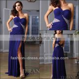 Beautiful Sweetheart Royal Blue Single Shoulder Draped Gown With Low Back Accented Beaded Fashion Evening Dress