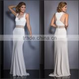 Elegant and Charming White Chiffon Evening Dress with Beading 2015 New Arrive High Quality Square Collar Evening Dress