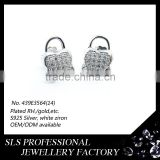 Butterfly push back stud earring 925 silver CZ micro paved design diamond earrings concentric lock latest fashion earrings