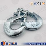 china carbon steel electro galvanized clevis slip hook with clevis pin and cotter for chain