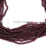 "5 Strands Garnet Gemstone Smooth Balls Rondelle Beads 2.5-3mm 13"" Long"