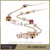 New gold chain design girls,latest design beads gold necklace,gemstone crystal,imitation jewelry,crystal jewelry