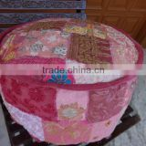 Handmade Pouf Ottoman,Patchwork Pouf,Bohemian Pink Pouf,Handmade Foot Stool,Vintage Chair,Multicolor Patches,Multi Patchwork