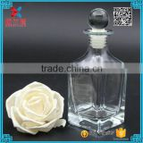 Fragrance perfume 150ml glass square aroma diffuser bottle with glass ball shape stopper