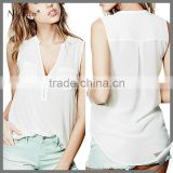 2016 Wholesale summer Casual sleeveless fashionable ladies blouse                                                                         Quality Choice