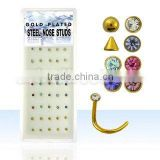 gold plated steel nose screws with assorted color crystals, balls and cones