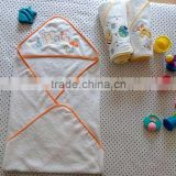 baby hooded towel with embroidered logo 100%cotton terry bath towel for baby soft little bath design -3