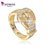 Women's Gold Plated Silver Belt Design crystal Buckle Ring