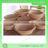 Natural stackable Wicker Bread Serving Round Basket Storage Bin Cream With Lining Kitchen