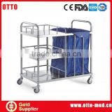 3 layers stainless steel hotel housekeeping trolley