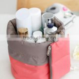 Nylon High Capacity Drawstring Elegant Drum Wash Bags Makeup Barrel Shaped Travel Cosmetic Bag