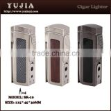 high-grade Cigar torch lighter Refillable four Torch Lighter durable zinc alloy table With cigar cutter /punch