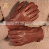 Brown colors super leather driving winter gloves with hand sewing