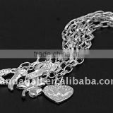 Iron End Chains, with Tibetan Style Pendants, Silver Color, Iron Cross Chains: 3.8x6.9mm(FIND-JF00059)