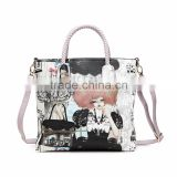 Western style manufacturer digital printed pu leather ladies tote handbag