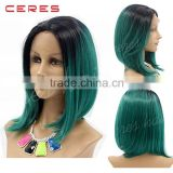 "wholesale cheap black to green two tones wig 10"" lace front ombre color wig for young lady                                                                         Quality Choice"