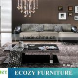 Half fabric half leather sofa, mixed leather and fabric sofa, fabric and leather combination sofas