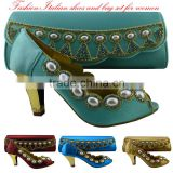 2016 Latest Design Green Italian Shoes And Bag Set/African Shoes And Bag Set/gh Quality Italian wedding Matching Shoes And Bags