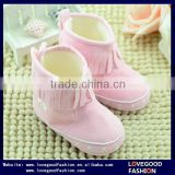 Anti-slip Soft Sole Prewalker Suede Baby Booties Fleece Lining Shoes With Tassels                                                                         Quality Choice