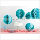 "8"" Turquoise Honeycomb Ball Tissue Paper Pom Poms Round Hanging Decoration"