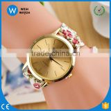 PW049 Fashion Casual Flower Cloth WristWatch Women Dress Ladies Wrap Watch Fabric Watch Girls Gift Bracelet Watch