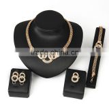 4pcs/set Wide Chain Rose Gold Plated Short Statement Necklace Sets Large Loops Linked Circle Charm African Women Jewelry Sets