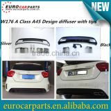 High quality A class w176 A45 design PP diffuser with muffler tips for MB A CLASS W176 A CLASS Sport Style rear bumper