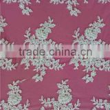 woven technics and 100% polyester,100% polyester french net lace material beaded lace fabric
