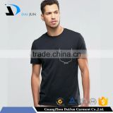 100 Cotton OEM O Neck Plain elastic short sleeve men 's black softtextile collar tshirt design
