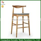 2016 hot sale good quality replica hans wegner chair wooden bar stool chair for restaurant
