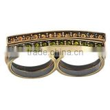 YR1558-4 Latest Design Vintage style Two Fingers Brass Ring Jewelry