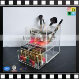 Wholesale acrylic cosmetic makeup organizer high transparent makeup box with drawer from shenzhen yidong