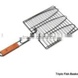 Charcoal Companion Non-Stick Triple Fish Grilling Basket