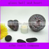 Low Price Rubby Colored Glass Home Decorative Ball Heart Ornament Handmade Mosaic Craft