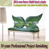 fancy fun Romantic high back decoration leisure chair butterfly green velvet wedding chair hotel photo studio shop window chair