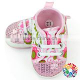 Cute Baby Orthopedic Shoes Flower Pattern Baby Canvas Lace Shoes Wholesale Soft Sole Baby Leather Shoes