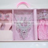 Onbest wholesale baby crown kids gift set hair accessories plastic princess tiaras +shoes+earring +bag