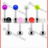 Fashion pure color acrylic ball lip ring bioplast labret body piercing jewelry