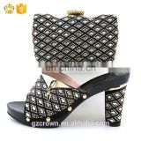 lady Rhinestone high heel shoes perfect matching with evening African shoes and Rhinestone handbag sets for party H170120015