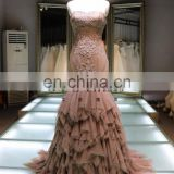 1A883 sexy shallow brown off shoulder back lace-up tiered trailed prom dress evening dress prom dress