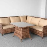 L shaped outdoor PE rattan sofa set sectional furniture waterproof
