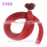 Factory wholesale top quality human hair flat tip hair extension red color
