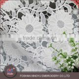 OEM beauty fashion French white 3D flower pattern embroidered mesh lace fabric for garment clothing