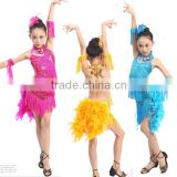 Whalesales bright sequins Latin performance clothing in pink,rose,blue and yellow color