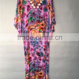 Floral Print 100% Silk CDC Corded V Neck Y Line Casual Kaftan Dress