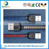 High quality nylon braided usb cable fast charger cable with two sided usb cable for Samsung Android sets