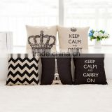 Home Decorative Cotton Linen Blended Cushion Cover Crown Throw Pillow Case