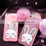 Fashion Creative Design Silicone Rabbit Plush Ball Stand Case with Diamon Hanging Rope for iPhone 6s/6 plus