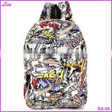 Hippie Facebook Canvas Backpacks Student School Bag Cartoon mc Print Rucksack Outdoor Travel Pack Graffit