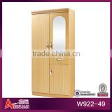 W922 special and easy-assemble wood wardrobe with hanging glass door